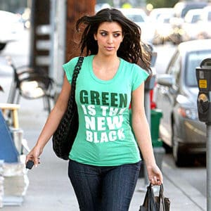 KIm making a statement with her t shirt.